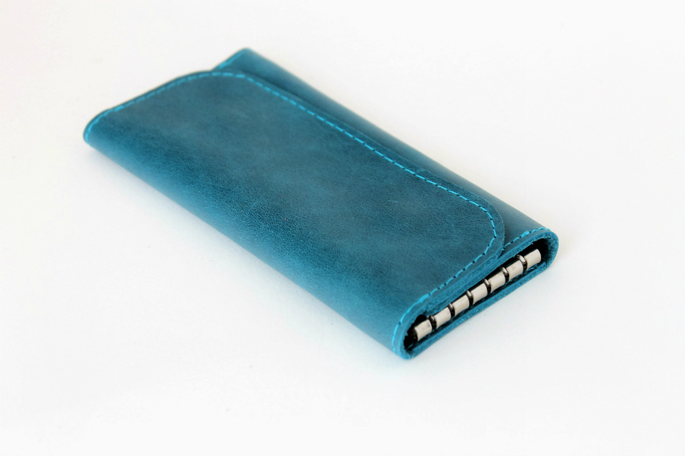 Ключница кожаная Лагуна 6 ключей (сине-голубая)Ключницы<br><br><br>Высота: 2