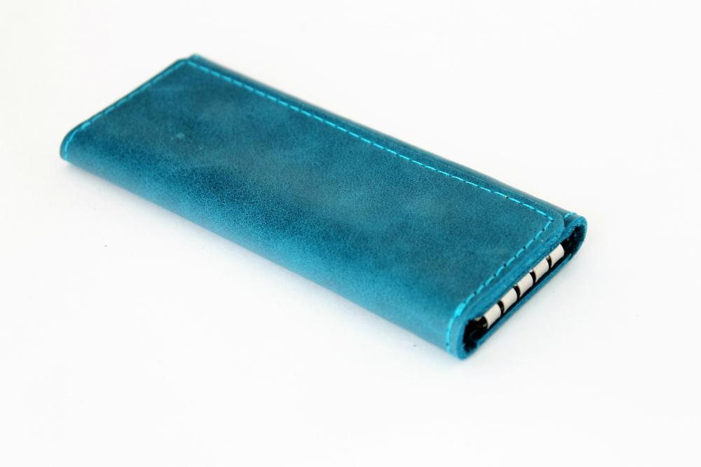 """Ключница кожаная """"Лагуна"""" 4 ключа (сине-голубая) от Grandstock"""