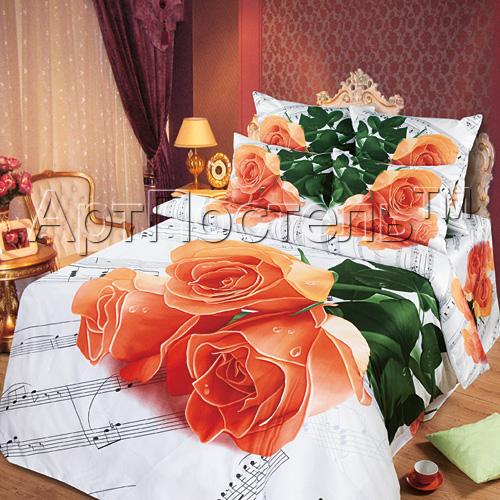 Постельное белье Мелодия любви 3D (сатин) 2 спальный с Евро простынёй