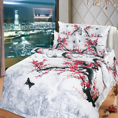 Постельное белье Предвкушение 3D (сатин) 2 спальный с Евро простынёй