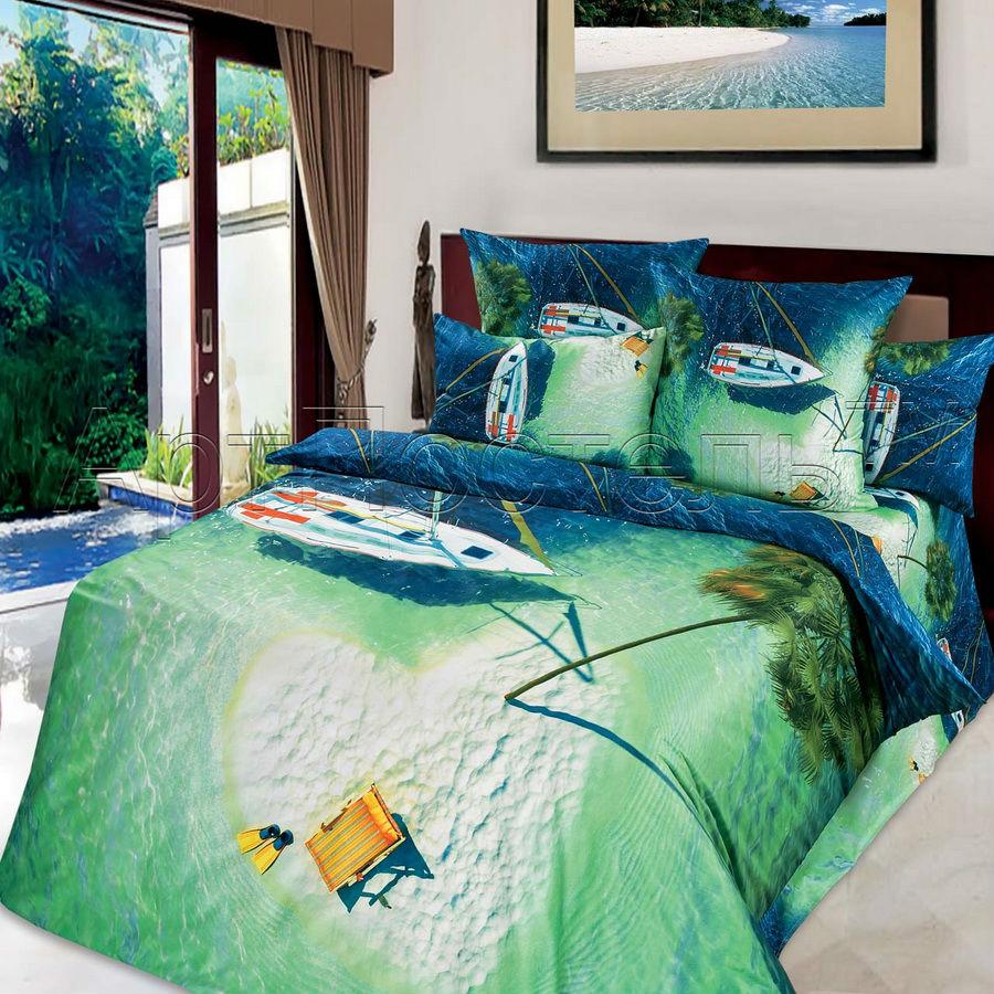 Постельное белье Райский остров 3D (сатин) 1,5 спальныйСатин 3D и 5D<br>Размер: 1,5 спальный<br><br>Тип простыни: Без шва<br>Тип пододеяльника: Без шва<br>Принадлежность: Для дома<br>Плотность КПБ: 120 гр/кв.м<br>Категория КПБ: Морское<br>По назначению: Повседневные<br>Рисунок наволочек: Расположение элементов расцветки может не совпадать с рисунком на картинке<br>Основной материал: Сатин<br>Страна - производитель ткани: Россия, г. Иваново<br>Вид товара: КПБ<br>Материал: Сатин<br>Сезон: Круглогодичный<br>Плотность: 120 г/кв. м.<br>Состав: 100% хлопок<br>Комплектация КПБ: Пододеяльник, простыня, наволочки<br>Длина: 47<br>Ширина: 33<br>Высота: 9<br>Размер RU: 1,5 спальный