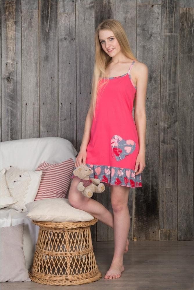 Ночная сорочка СердечкоСорочки и ночные рубашки<br>Размер: 50<br><br>Высота: 7<br>Размер RU: 50