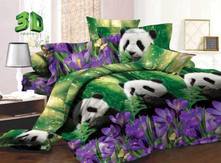 """Постельное белье """"Панды"""" 3D (поплин) 1,5 спальный"""