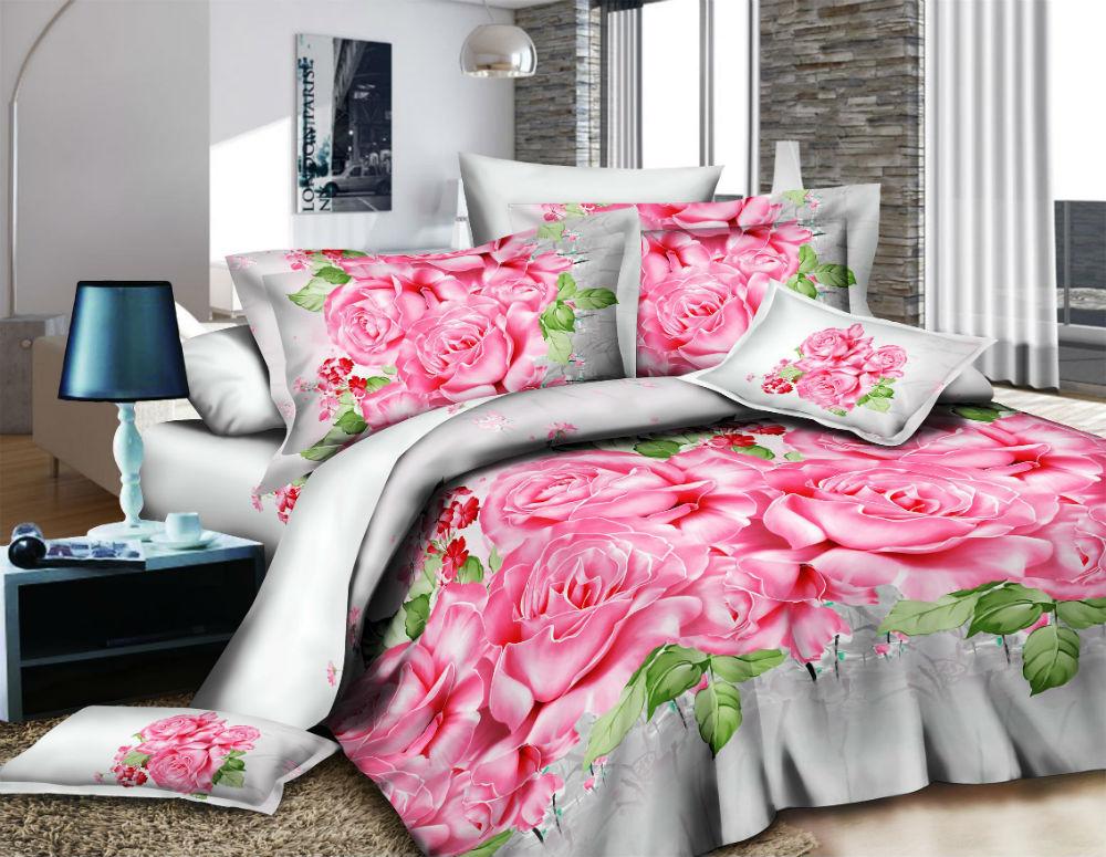 """Постельное белье """"Розы"""" 3D (полисатин) 1,5 спальный"""