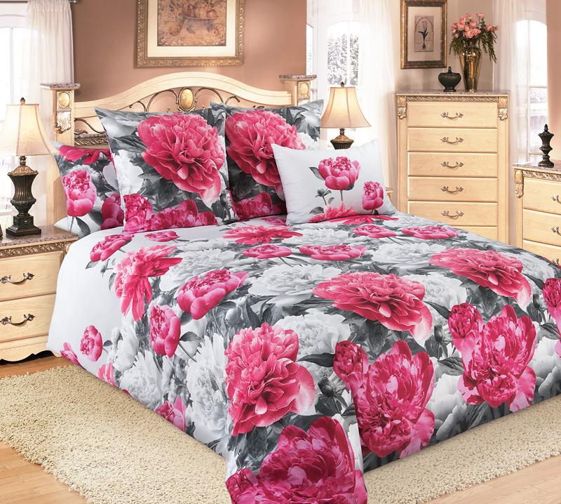 """Постельное белье """"Пионы розовые"""" (бязь) 2 спальный с Евро простынёй"""