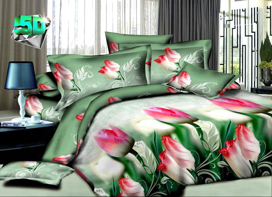 """Постельное белье """"Тюльпаны"""" 5D (полисатин) 2 спальный с Евро простыней (простыня на резинке) от Grandstock"""