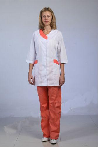Костюм ВолнаДля врачей<br>Врач должен спасать человеческие жизни, а не быть озабоченным своей одеждой или, что вообще недопустимо, отвлекаться на неудобство, которое его заставляет чувствовать неправильно подобранная униформа.<br>Однако в костюме Волна этого с вами точно не произойдет - и для этого даже существует ряд причин. Во-первых, костюм представляет собой рубашку и брюки свободного кроя, не стесняющего движения, что вы очень скоро оцените. Во-вторых, он сшит из тиси, плотной, но при этом достаточно приятной телу ткани.<br>И, в-третьих, женский костюм Волна имеет симпатичный дизайн, благодаря которому вы будете прекрасно выглядеть на работе!  Размер: 54<br><br>Принадлежность: Женская одежда<br>Основной материал: ТИСИ<br>Страна - производитель ткани: Россия, г. Иваново<br>Вид товара: Одежда<br>Материал: ТИСИ<br>Тип застежки: Пуговицы<br>Состав: 65% полиэстер, 35% хлопок<br>Длина рукава: Средний<br>Длина: 19<br>Ширина: 17<br>Высота: 9<br>Размер RU: 54