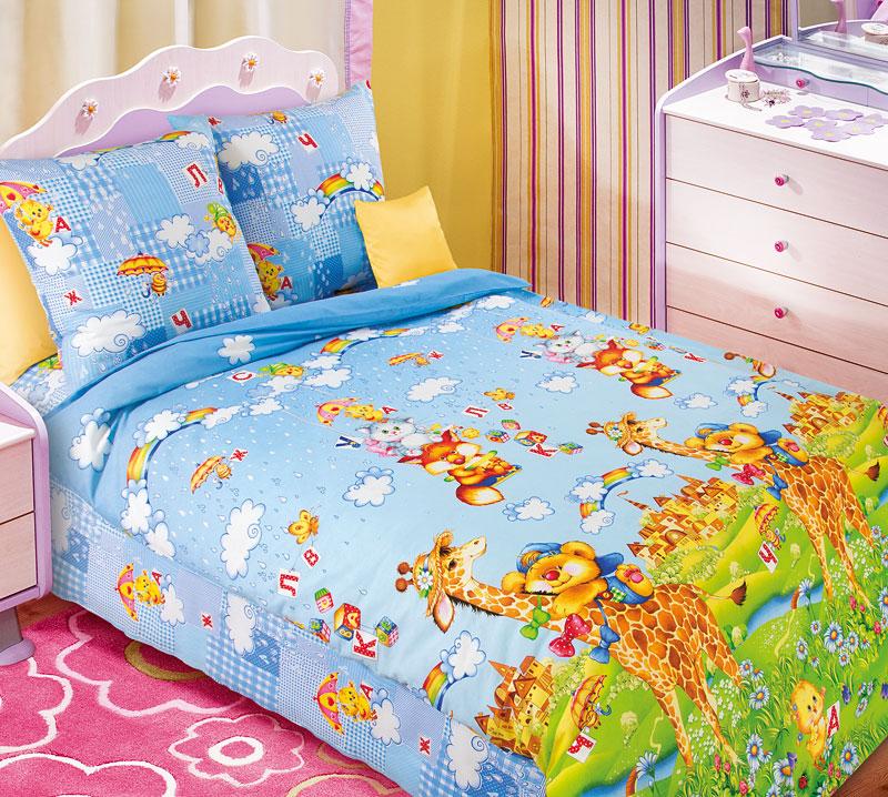 """Постельное белье """"Лето"""" голубой (бязь) 1,5 спальный"""