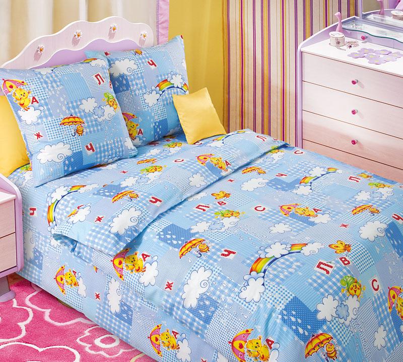 Постельное белье Радуга голубой (бязь) 1,5 спальныйДетские КПБ<br>Размер: 1,5 спальный<br><br>Высота: 7<br>Размер RU: 1,5 спальный