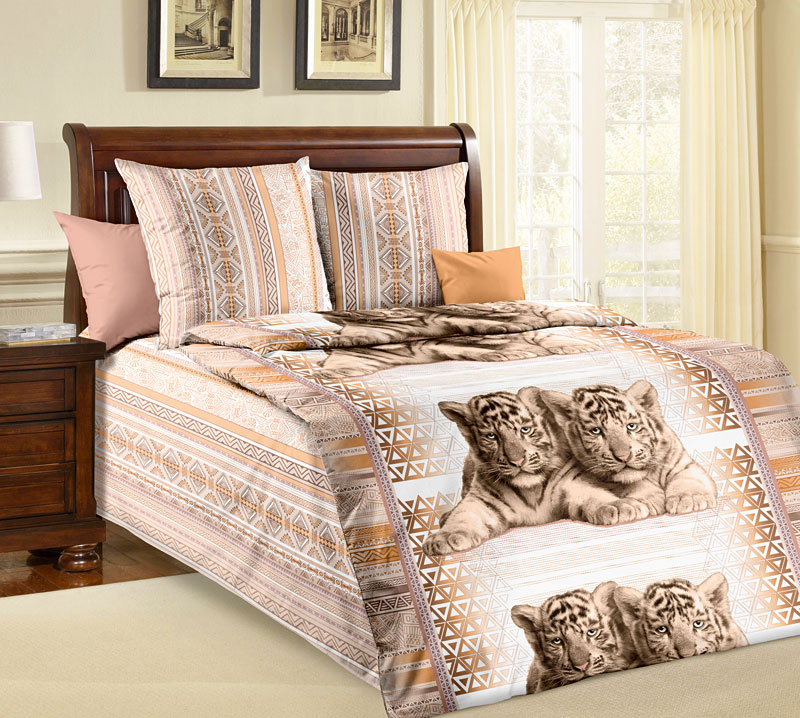 """Постельное белье """"Тигрята"""" (бязь) 1,5 спальный"""