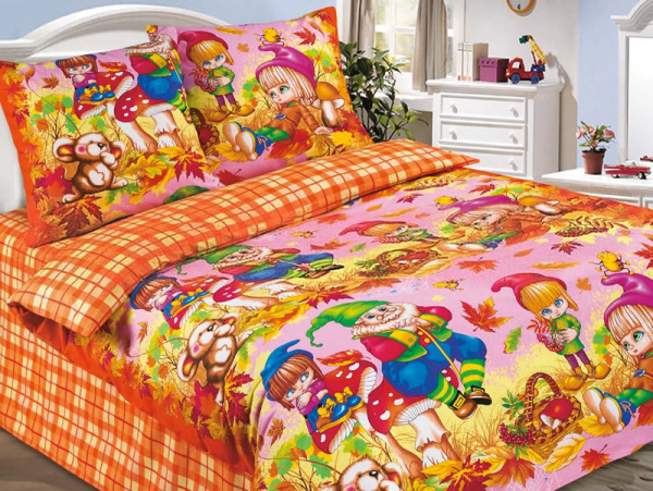 """Постельное белье """"Осенняя сказка"""" розовый (поплин) 1,5 спальный"""
