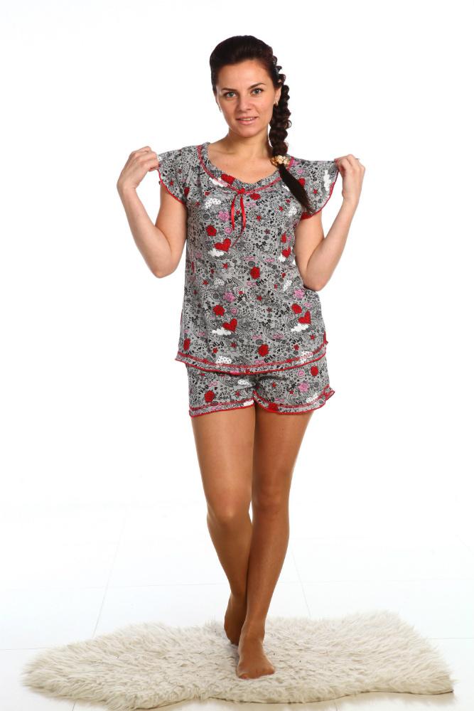Пижама женская Сладкие сныПижамы<br>Пижама, состоящая из футболки и шорт. Размер: 50<br><br>Принадлежность: Женская одежда<br>Основной материал: Кулирка<br>Вид товара: Одежда<br>Материал: Кулирка<br>Состав: 100% хлопок<br>Длина: 18<br>Ширина: 12<br>Высота: 7<br>Размер RU: 50