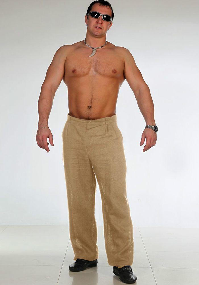 Брюки мужские из льна КлассикДомашние брюки<br>Лен - одна из самых подходящих тканей для пошива летней одежды, причем не только женской, но и мужской. Вот почему мы хотим представить вашему вниманию льняные мужские брюки Классик.<br>Данные брюки имеют прямой классический крой и представлены в двух цветовых вариантах: черном и светло-бежевом. Их можно комбинировать как с классическими рубашками, так и с футболками или легкими джемперами свободного стиля.<br>В мужских льняных брюках Классик вам будет легко и комфортно в любую, даже самую жаркую погоду, потому что лен обладает высокой воздухопроницаемостью и позволяет коже дышать. Размер: 46<br><br>Принадлежность: Мужская одежда<br>Основной материал: Лен<br>Страна - производитель ткани: Россия, г. Пучеж<br>Вид товара: Одежда<br>Материал: Лен<br>Длина: 19<br>Ширина: 17<br>Высота: 9<br>Размер RU: 46