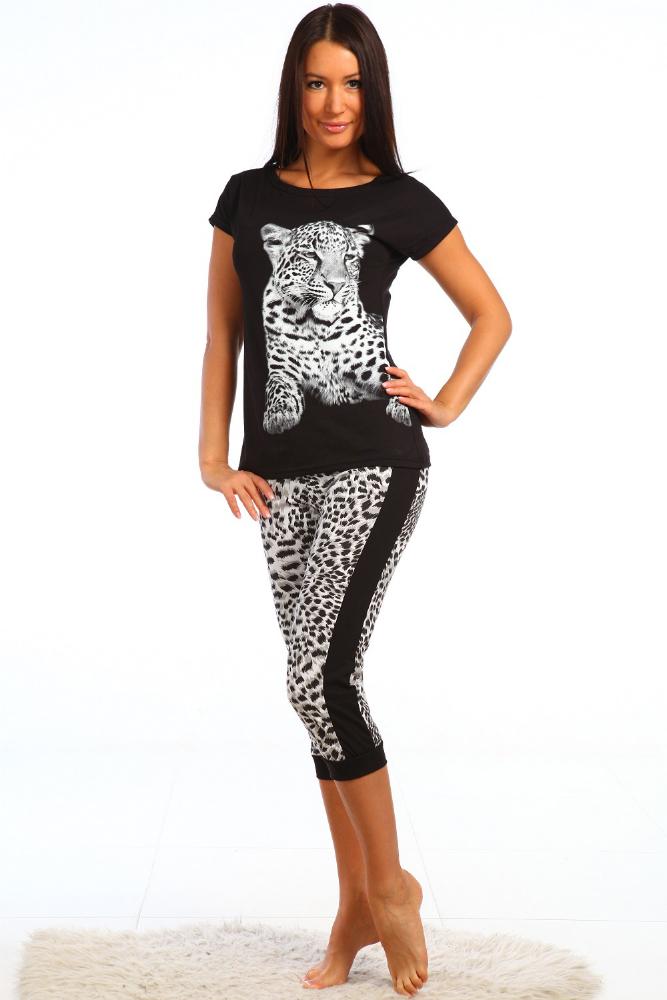 Костюм женский ЦирцеяЛетние костюмы<br>Леопардовый принт никогда не выйдет из моды, потому что ничто не сможет заменить его элегантности. Кроме того, леопардовый принт способен сделать стильным любую вещь - даже обычный домашний костюм.  Поэтому в том, что домашний комплект Цирцея выглядит так стильно, в принципе, нет ничего удивительного! Футболка имеет черный насыщенный цвет и принт с изображением леопарда на передней части; бриджи так же выполнены в черной расцветке, но еще имеют принтованные вставки с животным узором.   Стильный костюм Цирцея еще и очень удобен в носке: носите его дома, отдыхайте в нем, занимайтесь спортом - и у вас ни мысли не возникнет о каком-либо дискомфорте!  Размер: 42<br><br>Принадлежность: Женская одежда<br>Комплектация: Бриджи, футболка<br>Основной материал: Кулирка<br>Страна - производитель ткани: Россия, г. Иваново<br>Вид товара: Одежда<br>Материал: Кулирка<br>Сезон: Лето<br>Тип застежки: Без застежки<br>Длина рукава: Короткий<br>Длина: 19<br>Ширина: 17<br>Высота: 9<br>Размер RU: 42