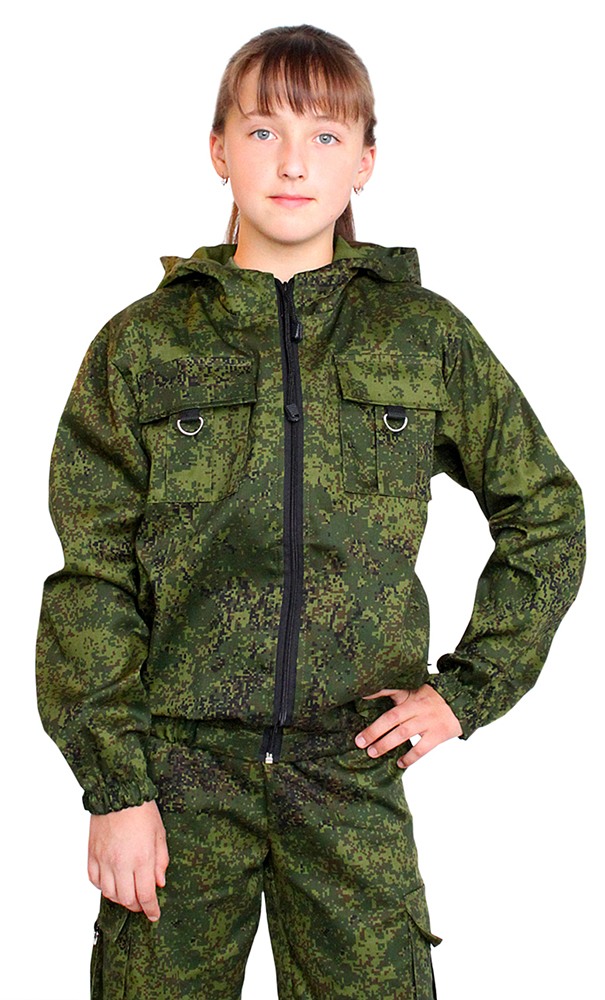 Костюм Зарница (цв. Цифра)Прочие костюмы<br>Костюм состоит из куртки и брюк. Куртка укороченная с капюшоном, центральной застежкой на тесьму-молнию, с накладными карманами с клапанами и декорацией из полукольца, рукав втачной по низу стянут эластичной тесьмой. Низ куртки стянут на эластичную тесьму. Брюки прямые на поясе стянуты эластичной тесьмой, карманами с отрезным бочком и боковыми карманами с клапаном. Рекомендуемые материалы: смесовые ткани. ГОСТ 27575-87.<br><br>Размерная сетка:  <br>Костюм Зарница детский р 28-30/рост 122-128<br>Костюм Зарница детский р 32-34/рост 134-140<br>Костюм Зарница детский р 36-38/рост 146-152<br>Костюм Зарница детский р 40-42/рост 158-164  Размер: 28-30<br><br>Возраст: Подростковый возраст (11-17 лет)<br>Пол: Унисекс<br>Основной материал: Смесовые ткани<br>Страна - производитель ткани: Россия, г. Иваново<br>Вид товара: Детская одежда<br>Материал: Смесовые ткани<br>Состав: 65% полиэстер, 35% хлопок<br>Длина: 24<br>Ширина: 18<br>Высота: 12<br>Размер RU: 28-30
