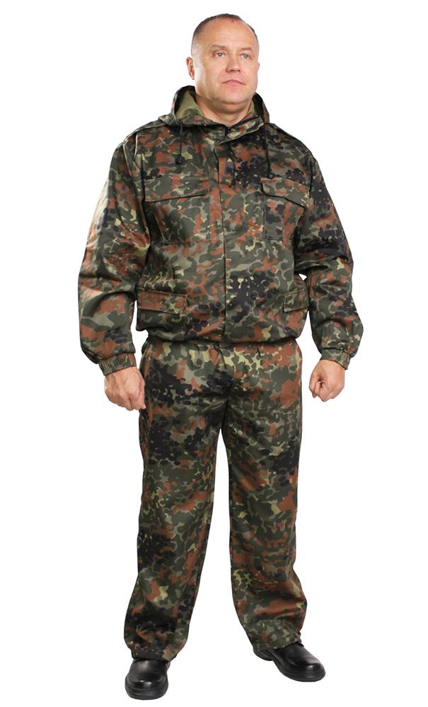 Костюм для охоты и рыбалки ВВЗ (бундесфер)Для рыболовов<br>Костюм ветровлагозащитный, состоит из куртки и брюк. Куртка укороченная на поясе, стянутом эластичной тесьмой с центральной застежкой на тесьму-молнию, прикрытую ветрозащитным клапаном, с верхними и нижними накладными карманами с клапанами, рукав втачной, длинный, по низу стянут эластичной тесьмой. Брюки прямые на поясе стянуты эластичной тесьмой, с карманами с отрезным бочком, по низу ширина брюк регулируется эластичным шнуром. Размер: 52-54<br><br>Высота: 8<br>Размер RU: 52-54