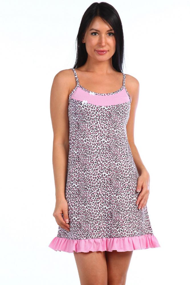 Сорочка женская ЛучикСорочки и ночные рубашки<br>Ночь - это время, когда женщина должна быть нежной как никогда, и ничто лучше, чем женская ночная сорочка Лучик, не поможет ей в этом.   Эта очаровательная модель укороченного фасона на тонких лямках в первую очередь привлечет вас своей насыщенной расцветкой, выполненной в голубых тонах с использованием мелкого цветочного узора. Дополнительным украшением модели служит отделка рюшей по низу изделия и маленькие атласные бантики белого цвета.   Сшита женская ночная сорочка Лучик из мягкой хлопковой кулирки и подойдет всем представительницам прекрасного пола с размерами 42-54. Размер: 44<br><br>Принадлежность: Женская одежда<br>Основной материал: Кулирка<br>Страна - производитель ткани: Россия, г. Иваново<br>Вид товара: Одежда<br>Материал: Кулирка<br>Длина рукава: Без рукава<br>Длина: 18<br>Ширина: 12<br>Высота: 7<br>Размер RU: 44
