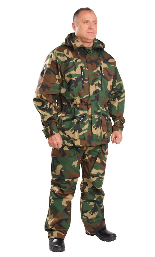 Костюм для охоты и рыбалки Нато (КМФ)Для охотников<br>Куртка с центральной застежкой на тесьму-молнию, прикрытую ветрозащитным клапаном, пристегивающимся капюшоном на молнии, с верхними и нижними накладными карманами на молнии, по линии талии стянута тесьмой-кулиской. Рукав втачной, длинный, по низу регулируется застежкой на липучке. Брюки на притачном поясе с широкими шлёвками, с центральной застежкой на молнии, карманами с отрезным бочком, на передней части бедра объёмные накладные рельефные карманы с клапанами, с усиливающими накладками на коленях. Сзади - два прорезных кармана с клапанами.  Размер: 44-46<br><br>Принадлежность: Мужская одежда<br>Основной материал: Рип-стоп<br>Страна - производитель ткани: Россия, г. Иваново<br>Вид товара: Одежда<br>Материал: Рип-стоп<br>Состав: 65% полиэстер, 35% хлопок<br>Длина: 27<br>Ширина: 25<br>Высота: 8<br>Размер RU: 44-46