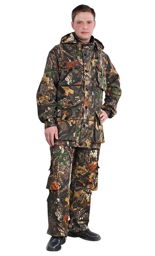 Костюм для охоты и рыбалки ТайгаДля охотников<br>Куртка удлиненная на кулиске, прямого покроя с капюшоном на молнии, с центральной застёжкой на молнию и ветрозащитной планкой, с верхними и нижними накладными карманами типа «портфель». Рукав втачной длинный, по низу регулируется застежкой на липучке. Брюки прямые  с цельнокроеным поясом, с застёжкой на пуговицы. Передние половинки брюк с боковыми внутренними карманы, с накладными карманами «портфель» по бокам, задние половинки с двумя прорезными карманами с клапаном. Размер: 60-62<br><br>Принадлежность: Мужская одежда<br>Основной материал: Смесовые ткани<br>Страна - производитель ткани: Россия, г. Иваново<br>Вид товара: Одежда<br>Материал: Смесовые ткани<br>Длина: 27<br>Ширина: 25<br>Высота: 8<br>Размер RU: 60-62