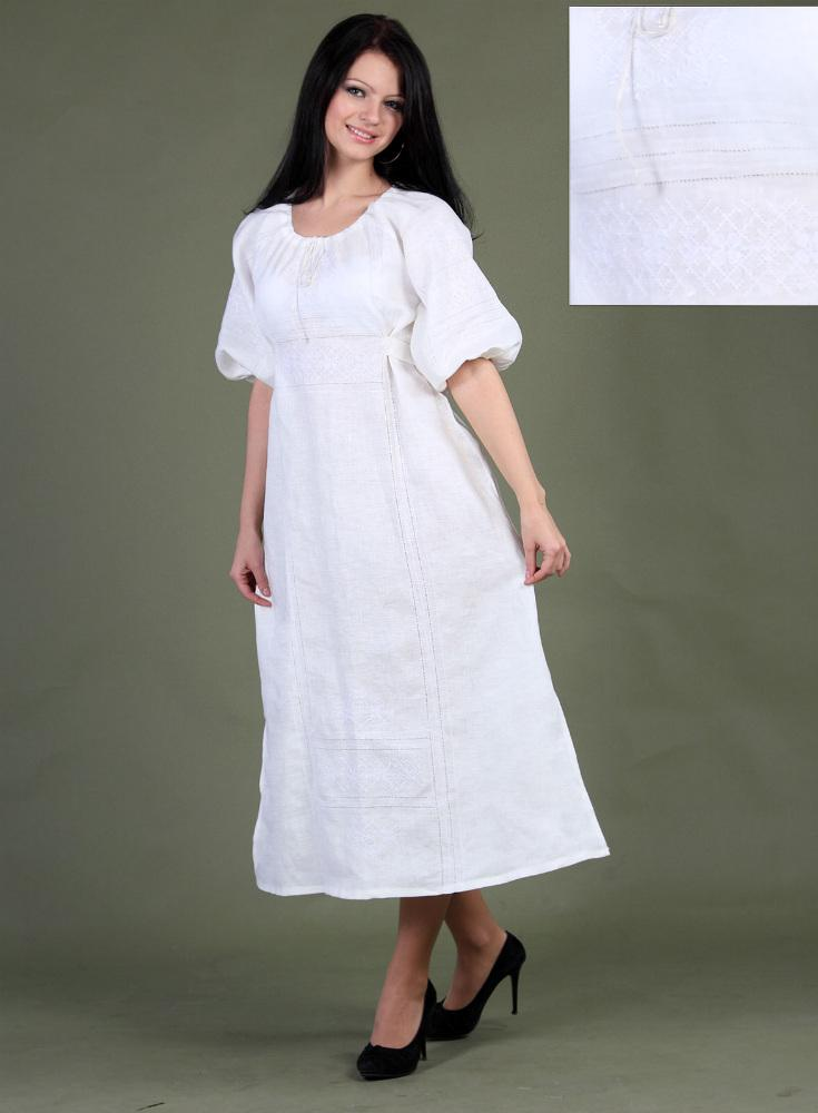 белый с белой вышивкой
