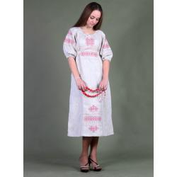 белый с красно розовой вышивкой
